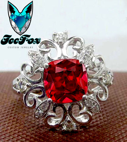Ruby - Gatsby Inspired -  Cushion Cut Cultured Pigeon Blood Ruby in 14k White Gold