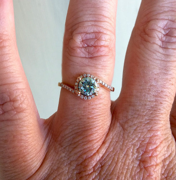 Moissanite Engagement Ring - Rare Sky Blue Moissanite -  6mm .80ct Round Sky Blue Moissanite in a 14K Rose Gold Diamond Bypass Halo Setting - In The IceBox
