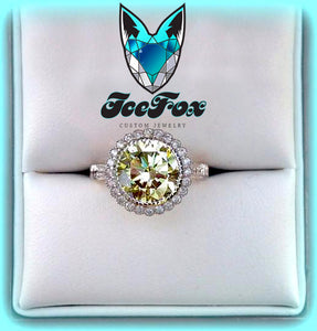 Moissanite Engagement Ring - Round Cut Canary Moissanite in a 14K White Gold Diamond Halo Setting with Hidden Birthstones - The IceFox