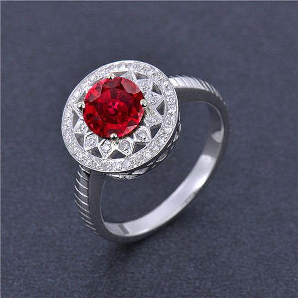 Ruby Engagement Ring .75ct, 6mm Round Cultured Ruby in a 14k White Gold Diamond Halo Setting - The IceFox