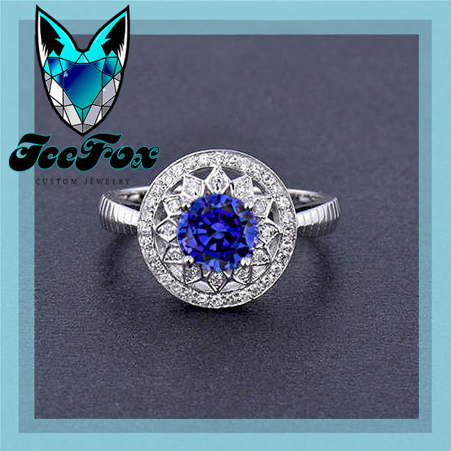 Sapphire - Cultured Blue Sapphire Engagement Ring .75ct, 6mm Round Cultured Blue Sapphire in a 14k White Gold Diamond Halo Setting - The IceFox