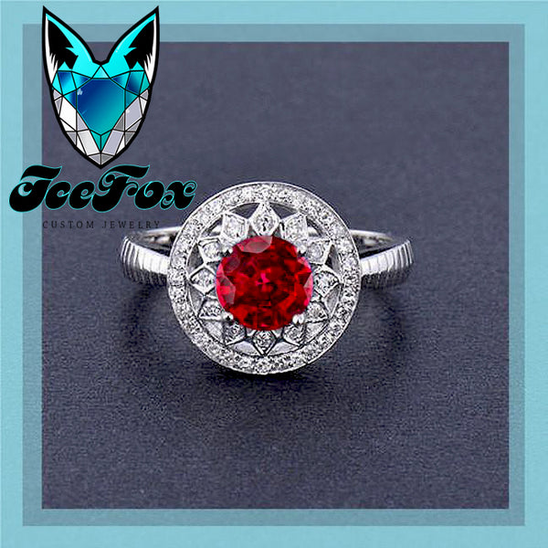 Ruby Engagement Ring .75ct, 6mm Round Cultured Ruby in a 14k White Gold Diamond Halo Setting - In The IceBox