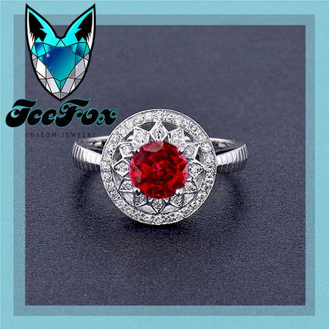 Ruby Engagement Ring .75ct, 6mm Round Cultured Ruby in a 14k White Gold Diamond Halo Setting