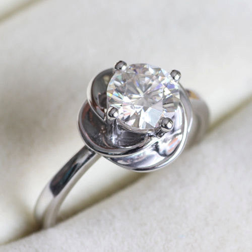 Moissanite Engagement Ring 1ct, 6.5mm Round Moissanite in a 14k White Gold Knot Setting - The IceFox
