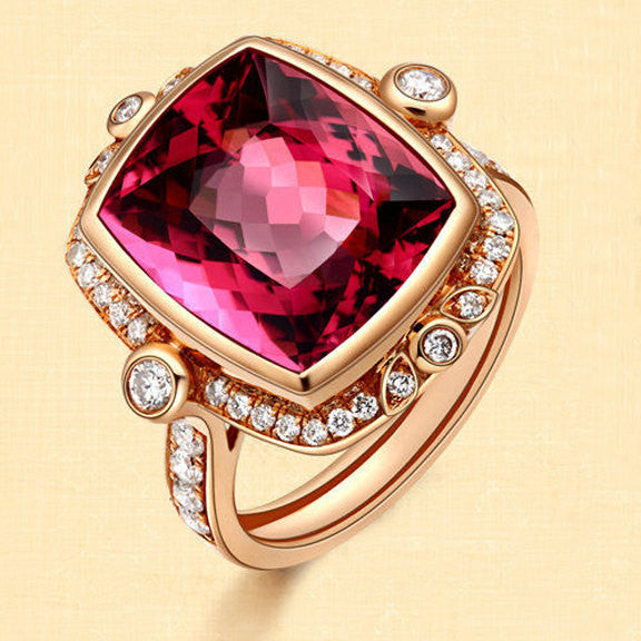 Tourmaline Engagement Ring 4.3ct, 9x11mm Cushion Cut Tourmaline set in a 14k Rose gold Diamond Halo Setting - In The IceBox