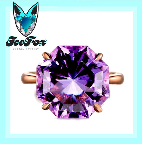 Amethyst Engagement Ring 10.5ct Round Octagon Cut Amethyst in a 14k Rose Gold Solitaire setting - In The IceBox