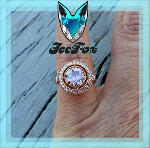 Moissanite Engagement Ring - 7.5mm, 1.5ct Round Peach Pink Moissanite Set in a 14K Rose Gold Diamond Milgrain Halo - The IceFox