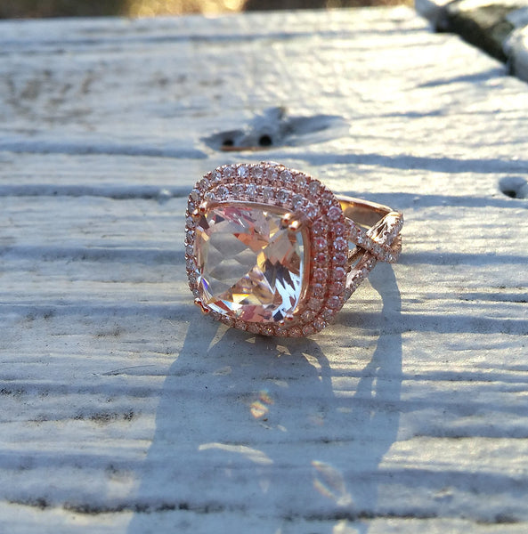 Morganite Engagement Ring - 10 x 10mm, 3.2ct Cushion Cultured Peach Pink Morganite in 14K Rose Gold Double Halo Twist Shank Setting - In The IceBox