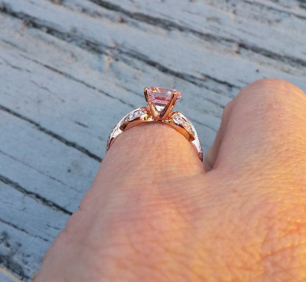 Breast Cancer ring Survivor or Memorial 8mm Round Cultured Pink Sapphire set in a 14K Rose Gold Ribbon Twist Band - In The IceBox