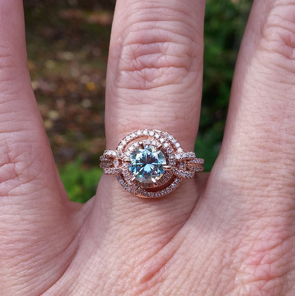 Moissanite - Engagement Ring -  6.5mm, 1.2ct Round Blue Moissanite set in a 14K Rose Gold Knot Setting
