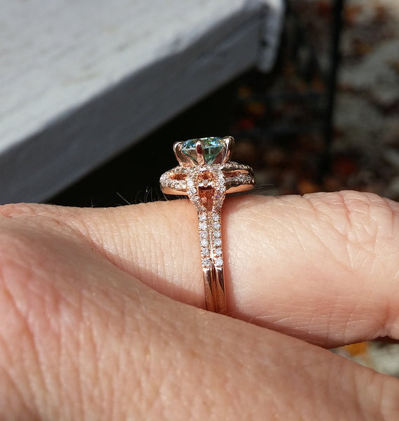 Moissanite - Engagement Ring -  6.5mm, 1.2ct Round Blue Moissanite set in a 14K Rose Gold Knot Setting - The IceFox