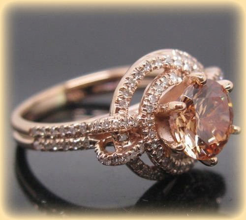 Morganite Engagement Ring - 6.5mm Round Brilliant Morganite Diamond Knot Halo Setting 14K Gold