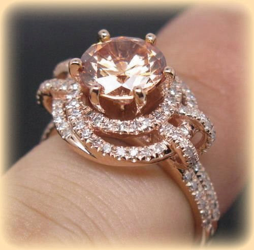 Round Peach Pink Morganite Engagement Ring In Diamond Knot