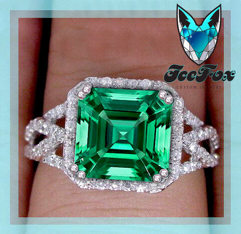 Emerald - Engagement Ring 3.2ct, 8mm Asscher Cut Cultured Emerald set in a 14k White Gold Diamond Halo Lattice Band Setting - In The IceBox