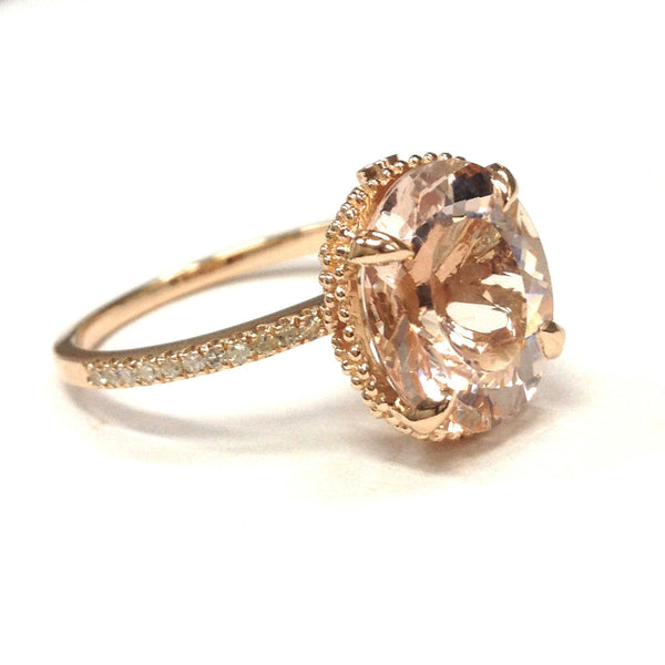 Morganite Engagement Ring - 4.8ct 12 x 10mm Oval Morganite set in a 14k  Rose Gold Milgrain Filigree Setting