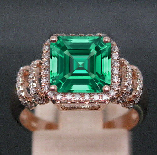 Emerald - 3.2ct, 8mm Asscher Cut Cultured Emerald set in a 14k Rose Gold Diamond Halo Setting