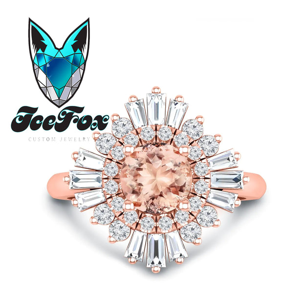 Morganite Engagement Ring 1.3ct, 7mm Round Morganite in a 14k Rose Gold Diamond Sunflare Halo - In The IceBox