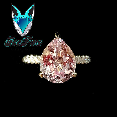 10x8mm, 3ct Portuguese Flower Cut Cultured Pink Sapphire set in a 14K White Gold Double Hidden Halo Setting