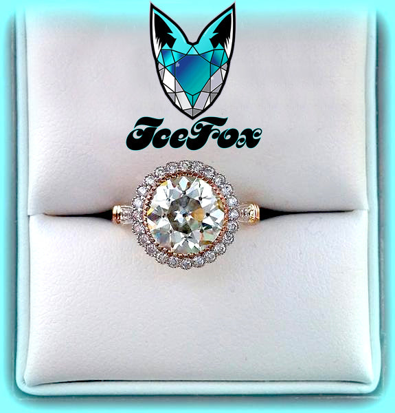 Moissanite Engagement Ring 9mm 3ct Round Brilliant EF Color Moissanite in a 14K White and Rose Gold Diamond Halo Setting with Hidden Birthstones - In The IceBox
