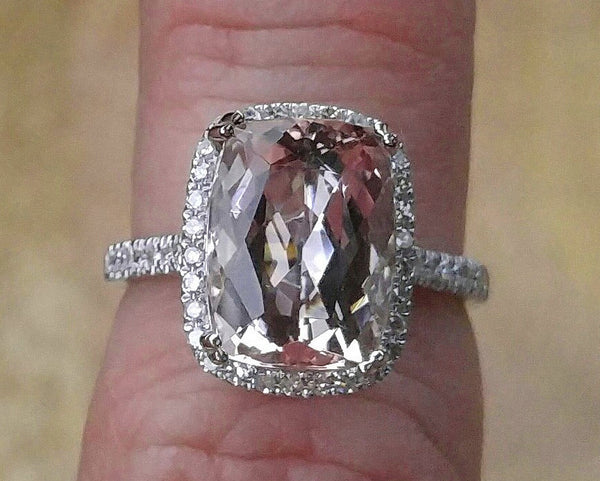 Morganite Engagement Ring  2x10mm, 4.2ct Cushion Cut Morganite Set in a 14K White Gold Halo Setting - In The IceBox