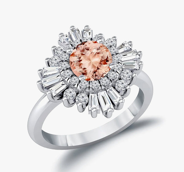 Morganite Engagement Ring 1.3ct, 7mm Round Morganite in a 14k Yellow Diamond Sunflare Halo - In The IceBox