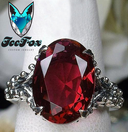 Ruby Engagement Ring 6ct, 12x10 Oval Cultured Pigeon Blood Ruby - In The IceBox
