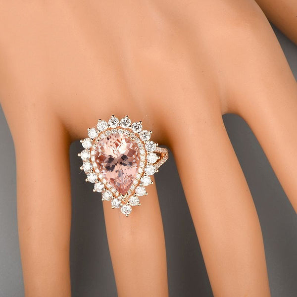 Morganite - 3.62ct 13 x 8mm Pear Morganite set in a 14k  Rose Gold Double Diamond Halo Setting - In The IceBox
