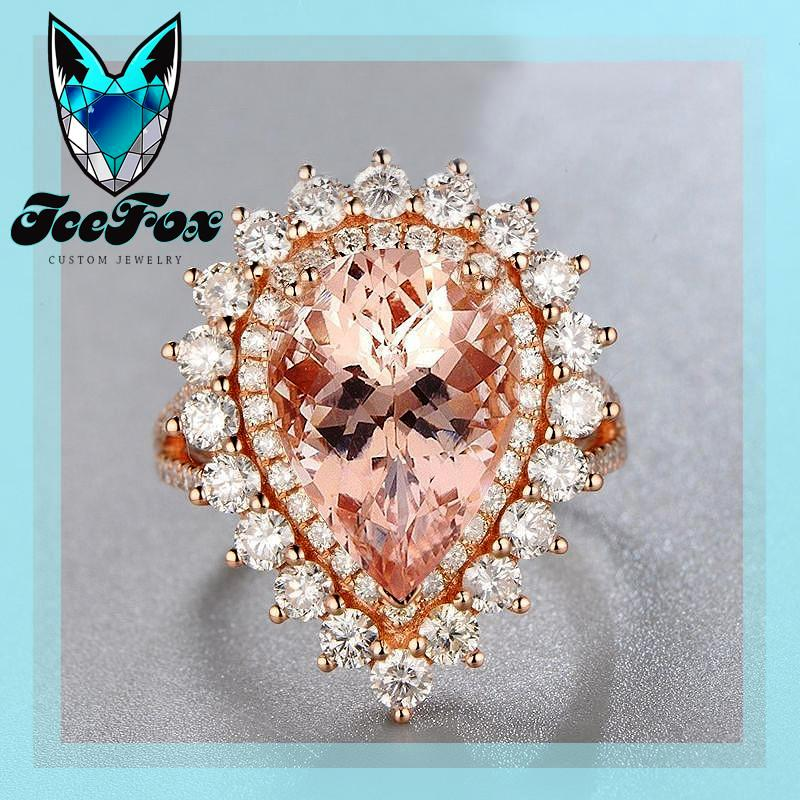 pear morganite diamond halo rose gold