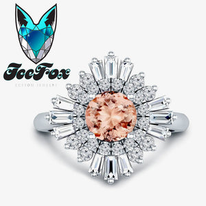 Morganite Engagement Ring 1.3ct, 7mm Round Morganite in a 14k White Diamond Sunflare Halo - In The IceBox