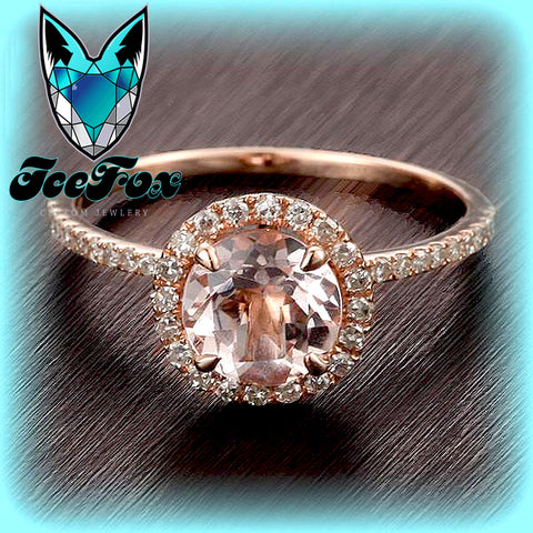 Morganite Engagement Ring 1.2ct Round in a 14k Rose Gold Diamond Single Halo setting - In The IceBox