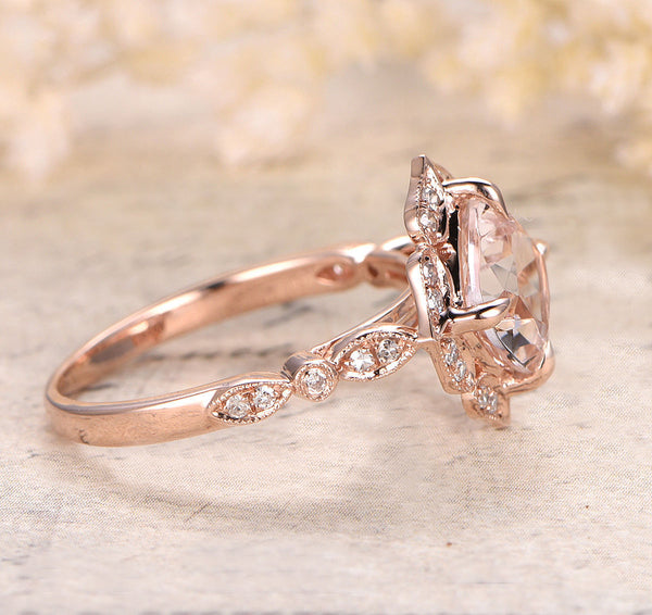 Morganite Engagement Ring Cushion Cut Morganite in 14k Rose Gold Diamond Halo Setting
