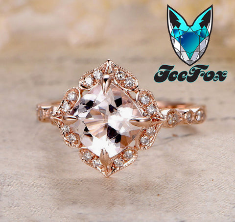 Morganite Engagement Ring Cushion Cut Morganite in 14k Rose Gold Diamond Halo Setting - The IceFox