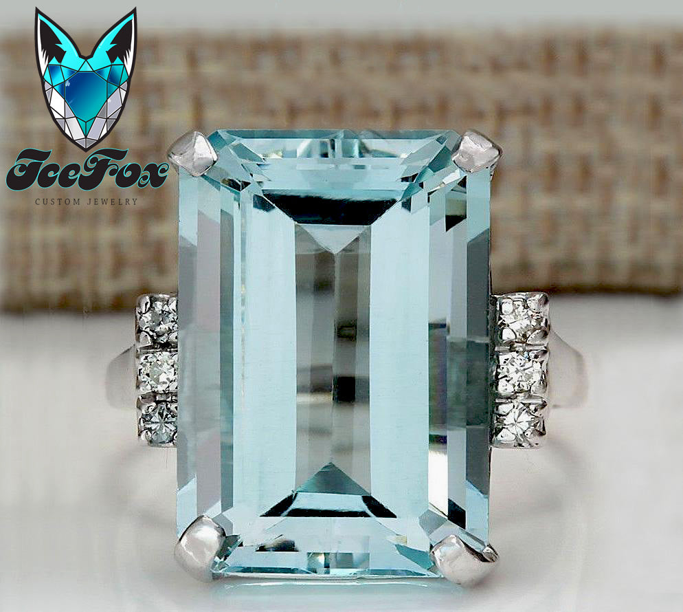 Aquamarine Engagement Ring - The Markle - 6.2ct, 14x10 Emerald Cut in a 14k White Gold Setting - In The IceBox