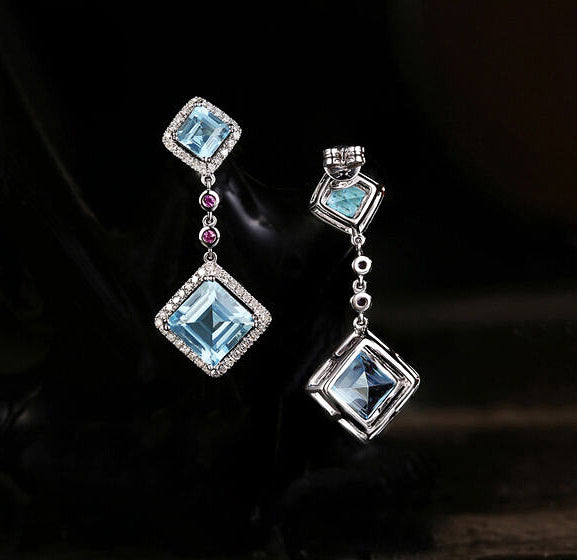 Blue Asscher Cut Topaz Drop Earrings - In The IceBox