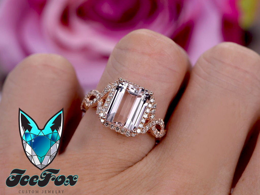 Morganite Ring - 8 x 10mm Emerald Cut Morganite in a 14K White Gold Diamond Halo Setting - In The IceBox