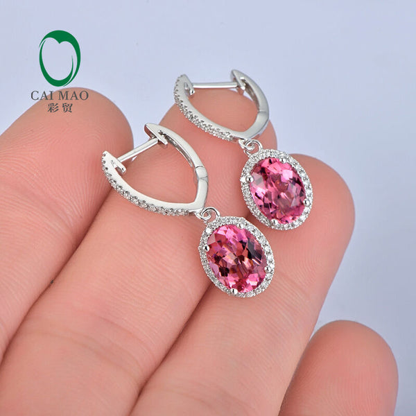 Pink Topaz and Diamond Oval Drop Earrings - In The IceBox