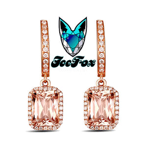 Radiant Cut Morganite and Diamond Earrings - In The IceBox