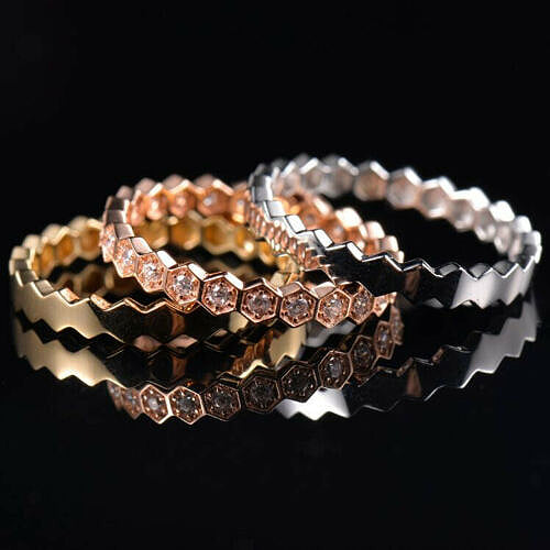 Wedding Band - Honeycomb Stackers WITH Diamonds in 14k Gold - In The IceBox