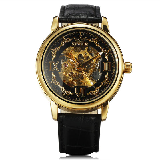 Gold Case Skeleton Dial Auto Watch
