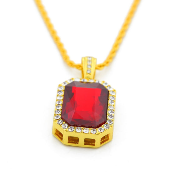 18k Gold Ruby Color Stone Pendant Necklace