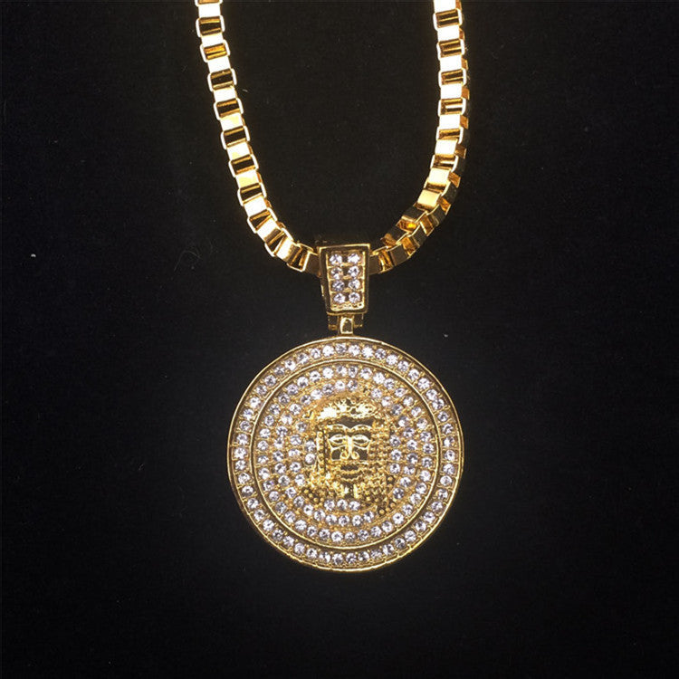 18k Gold Jesus Face Pendant Necklace