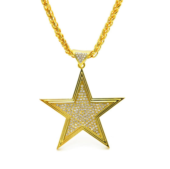 18k Gold Star Charm Pendant Necklace