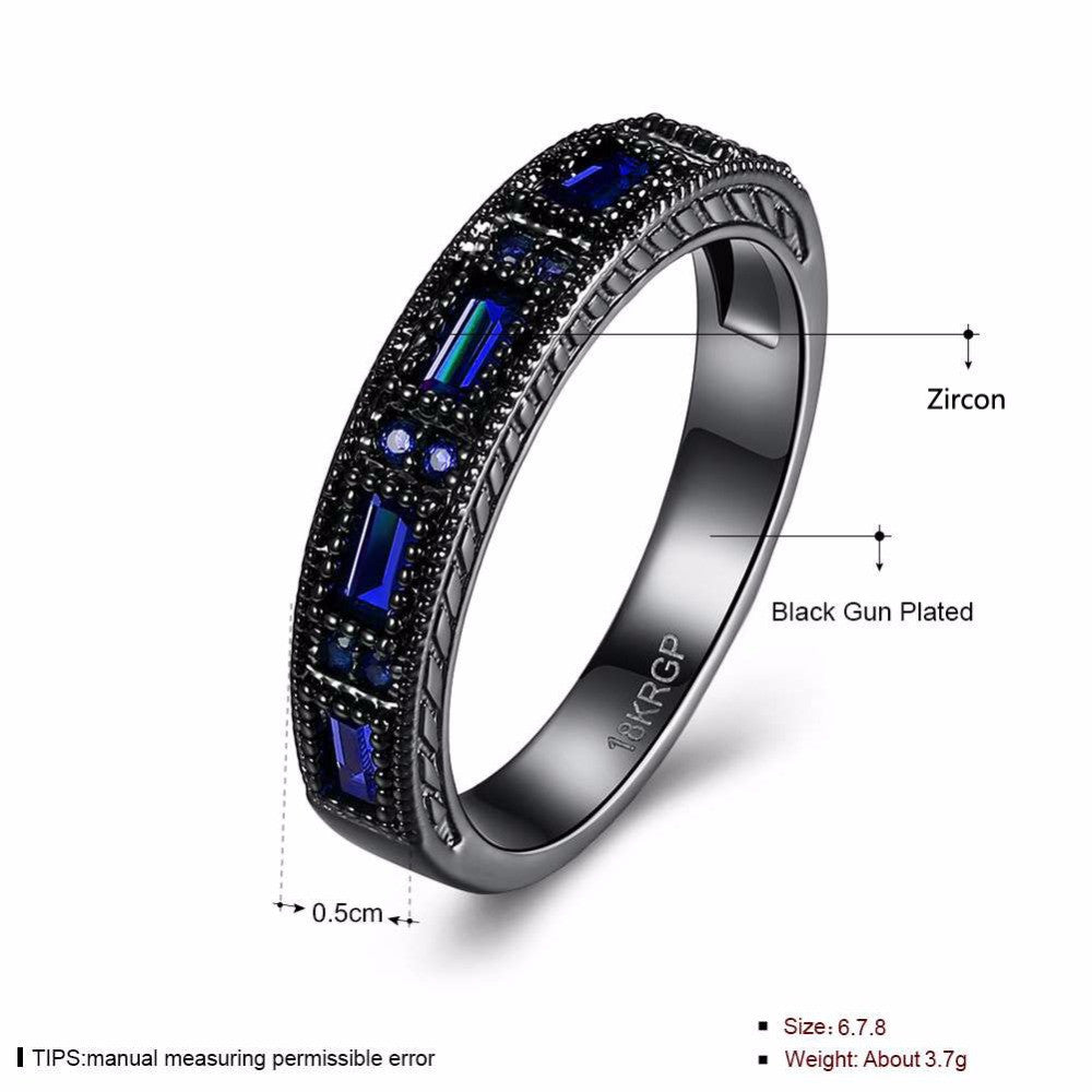 Luxurious Blue Stone Black Gun Plated Ring