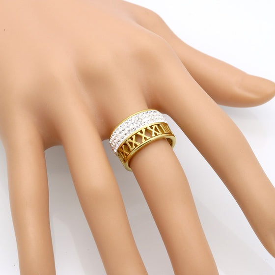 Roman Numerals Gold/Steel Plated Ring