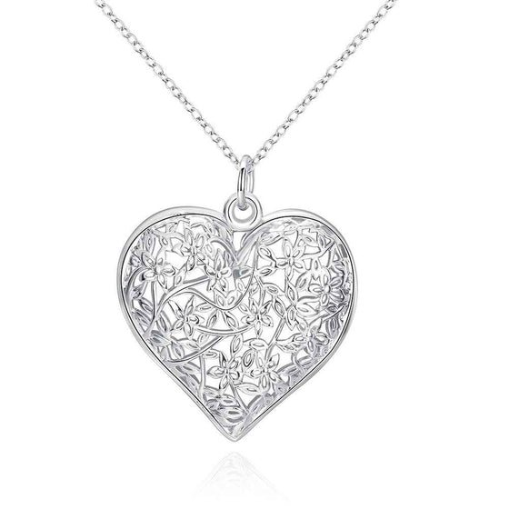Heart Sand Flower Silver Pendant Necklace