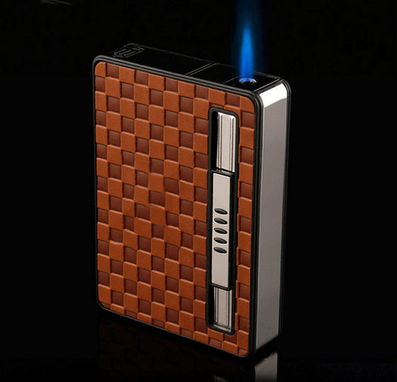 10 PC Cigarette Box Case With Windproof Lighter