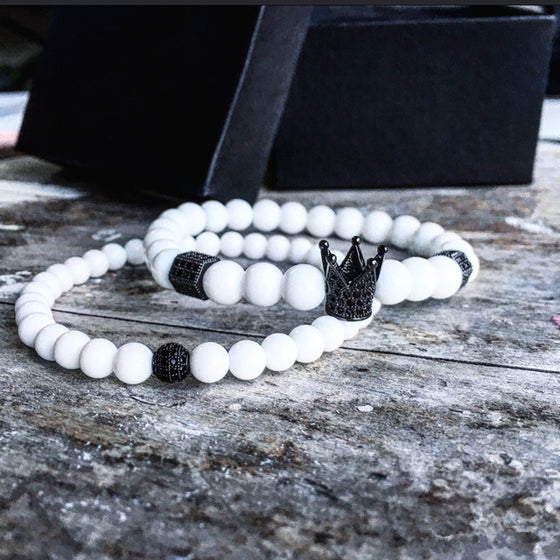 2pcs Luxury Matte Black Crown White Bracelet Set