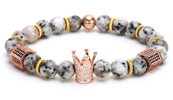 Grey Marble Rose Gold King Crown Bracelet
