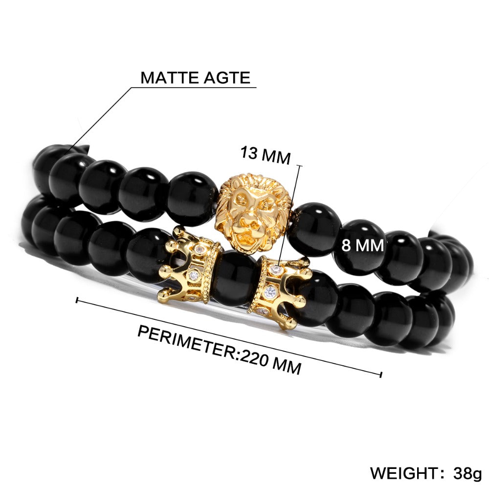 2PC ROYAL LION CROWN BRACELET SET