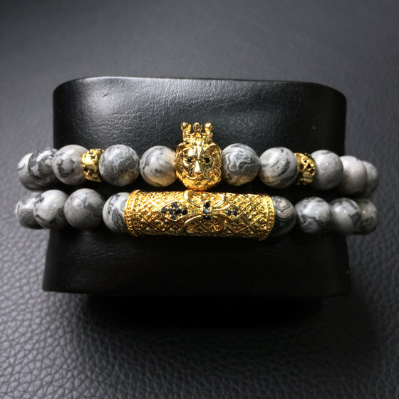 2pc Silver Royal Lion Bracelet Set
